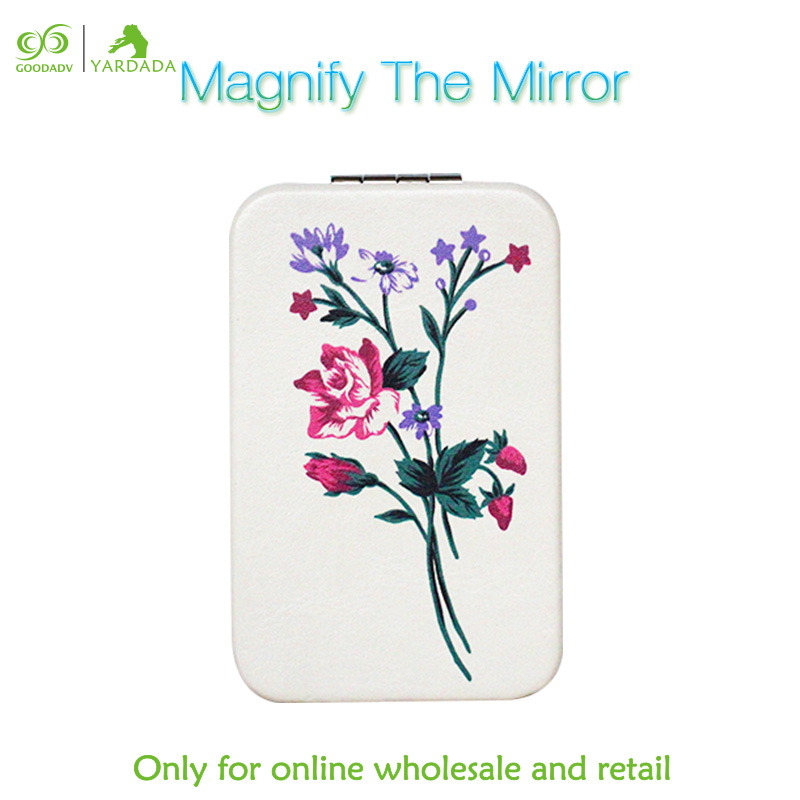 1pc wedding gift women fashion metal stainless steel frame folding mirror 2X magnifying glass mirror decorations purse handbag