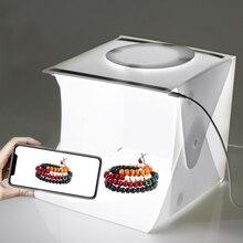6 telones de fondo Mini caja de luz plegable fotografía caja de estudio fotográfico con tira de luces de doble LED para pequeños artículos de fotografía