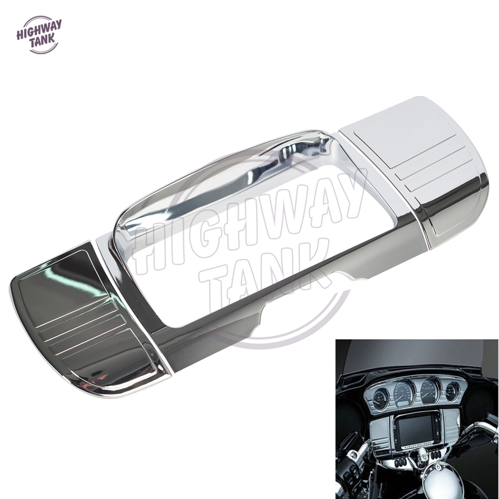 Chrome Motorcycle Central Console Tri Line Stereo Trim Cover case for Harley Touring Electra Street Glide Ultra 2014-2017