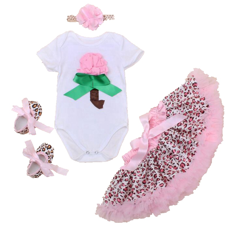 Pink 3D Flower Fantasia Infantil Ropa Bebe Bodysuit Leopard Print Baby Girl Skirt 4PCS Newborn Tutu Sets Toddler Infant Clothing