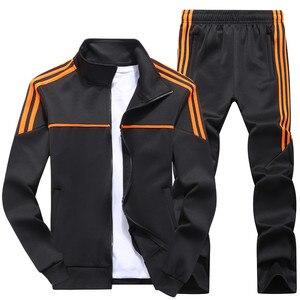 Image 4 - New Mens Set Spring Autumn Men Sportswear 2 Piece Set Sporting Suit Jacket+Pant Sweatsuit Male Tracksuit Asia Size L 4XL