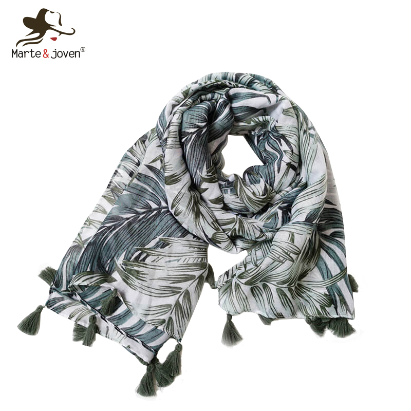 Marte&Joven Classic Leaves Print Tassel   Scarves   Shawls for Women 2018 Fashion Summer Beach Oversized Cover Up   Scarf     Wraps   Ladies
