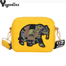 Luxury Crossbody Bags for Women Canvas Flap Embroidery Elephant Handbags Mini Messenger Shoulder Bag Ladies Hand Bags Totes(China)