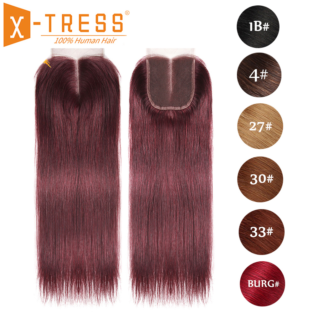 99J/Burgundy Red Color Straight Human Hair Lace Closure 4x4inch Free/Middle Part X-TRESS Brazilian Non Remy Swiss Lace Closure