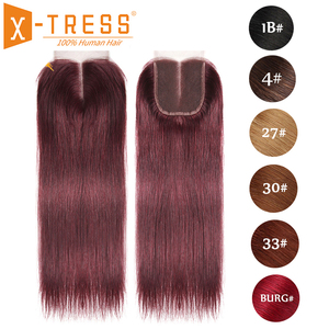 Image 1 - 99J/Burgundy Red Color Straight Human Hair Lace Closure 4x4inch Free/Middle Part X TRESS Brazilian Non Remy Swiss Lace Closure