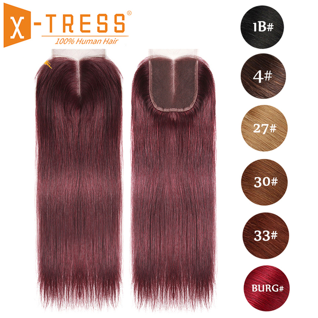 99J/Burgundy Red Color Straight Human Hair Lace Closure 4x4inch Free/Middle Part X TRESS Brazilian Non Remy Swiss Lace Closure