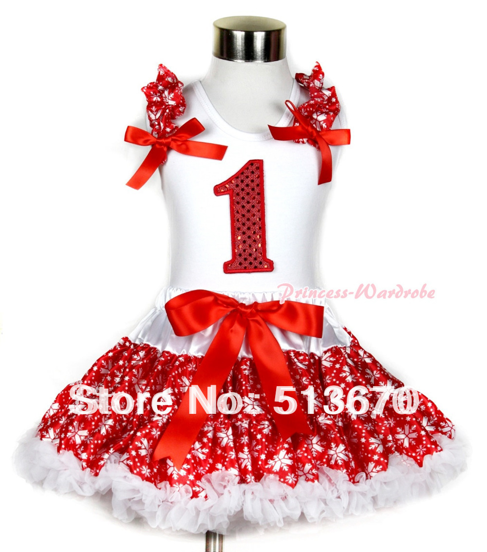 Xmas White Tank Top 1st Sparkle Red Birthday Number Red Snowflakes Ruffles & Red Bow & Red Snowflakes Pettiskirt MAMG725 xmas white tank top 2nd sparkle red birthday number with red snowflakes ruffles
