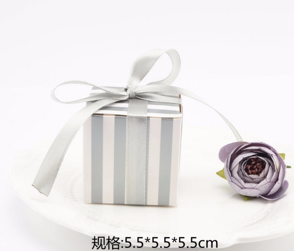 100pcs Creative Square Striped Gold / Silver Wedding Favors Candy ...