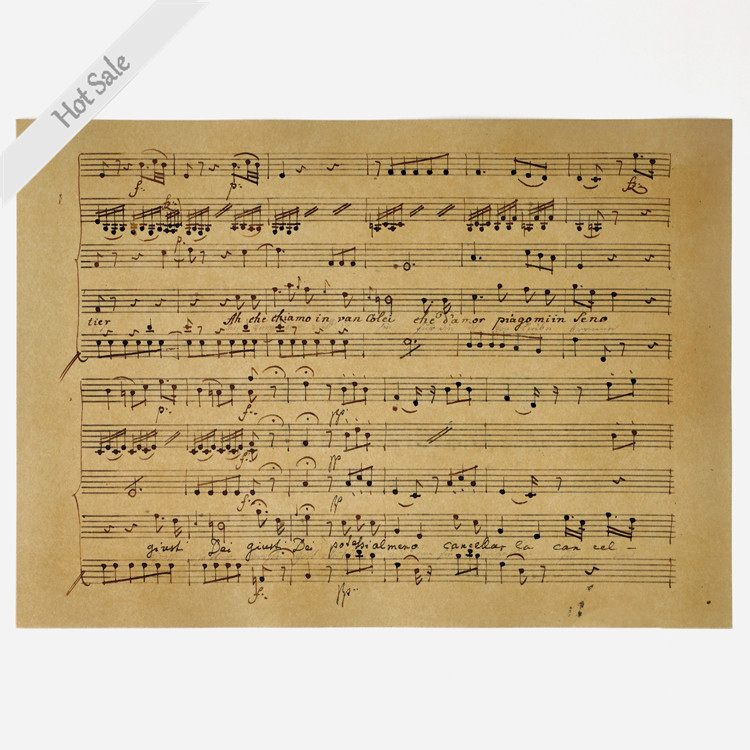 US $1 97 |Vintage poster retro painting Classic Sheet music Note chart  antique living room wall sticker print home decor 42x30cm ZJP M155-in Wall