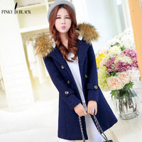2016 New Arrivals Winter Coat Women Woolen Outerwear Female Slim Medium Long Plus Size Double Breasted