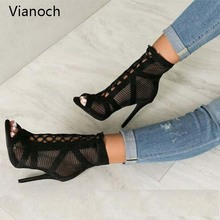 2019 Fashion New High Heels Women Party Sexy Fish Net Platform Pumps Peep Toe Mesh Shoes Lace Up Sandals Lady aa1003 new designer fashion women shoes strange style high heels sandals waterproof platform peep toe pumps fashion party women shoes