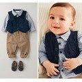 Primavera chándal bebé ropa estilo Europeo guapo roupas infantil bebes conjuntos de tres piezas de ropa de bebé niño