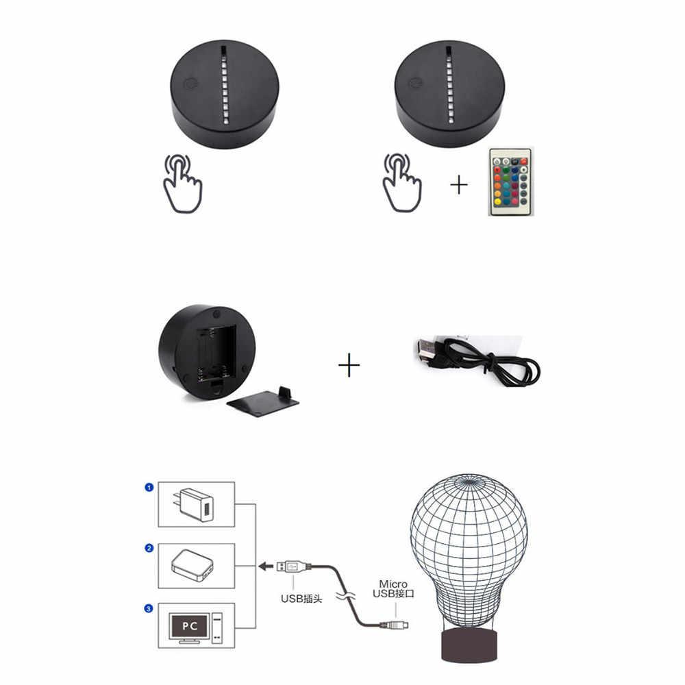 ABS acrílico negro 3D LED lámpara de noche Base de luz USB Cable de Control remoto nuevos Gadgets Base dropshipping. Exclusivo. 4D