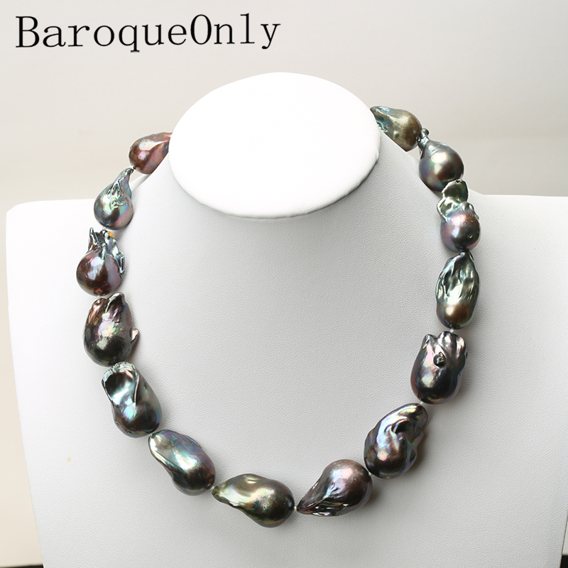 AAAAA HIGH QUALITY Natural pearl black baroque pearl chain necklace choker long necklace 45/50/55 15-35MM for girl gift party