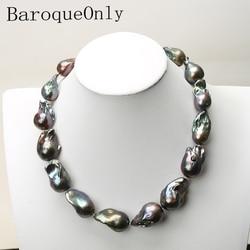 AAAAA HOHE QUALITÄT Natürliche perle schwarz barocke perle kette halskette halsband lange halskette 45/50/55 15- 35MM für mädchen geschenk partei