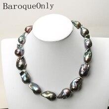 AAAAA di ALTA QUALITÀ perla Naturale nero perla barocca della collana della catena del choker collana lunga 45/50/55 15  35 MILLIMETRI per la ragazza del regalo del partito