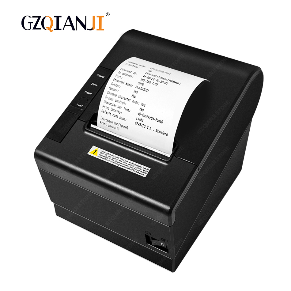 POS 80mm Thermal Receipt POS Billing Printer Auto Cutter Printer with USB Serial Ethernet Lan Port
