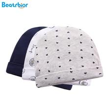 Новые 3 шт./Партия Детские шапки из хлопка, весенние детские шапки для новорожденных мальчиков и девочек, мягкие детские шапки с принтом, аксессуары для детей 0-3 месяцев