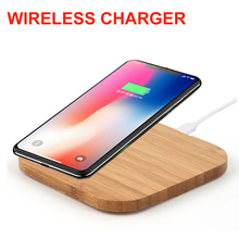 For iPhone 8 Plus X XR Qi Wireless Charger Slim Wood Pad Mat For Samsung S9 S8 S7 S6 Edge Wireless Phone Charging Pad