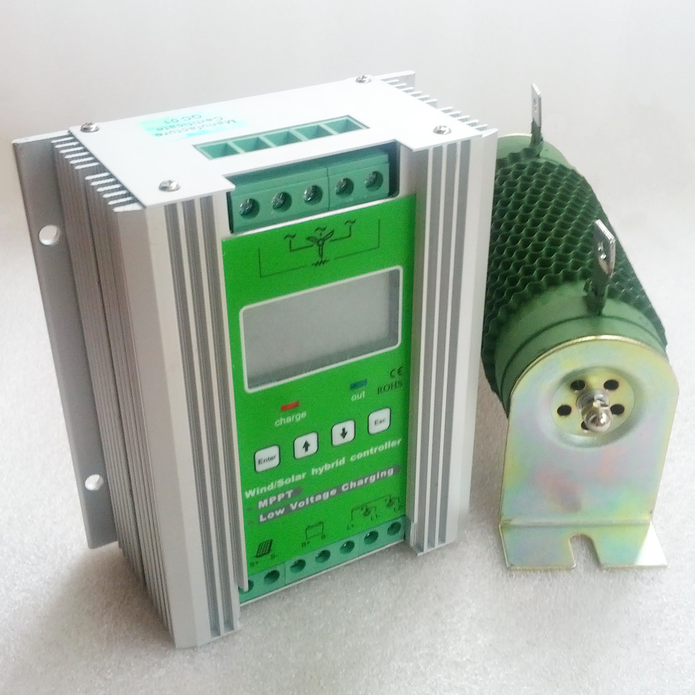 MPPT Wind Solar Hybrid Charge Controller 300W 400W 500W 600W wind turbine generator controller & 200W 300W 400W solar controller wind and solar hybrid controller 600w with lcd display charge controller for 600w wind turbine and 300w solar panel 12v 24v