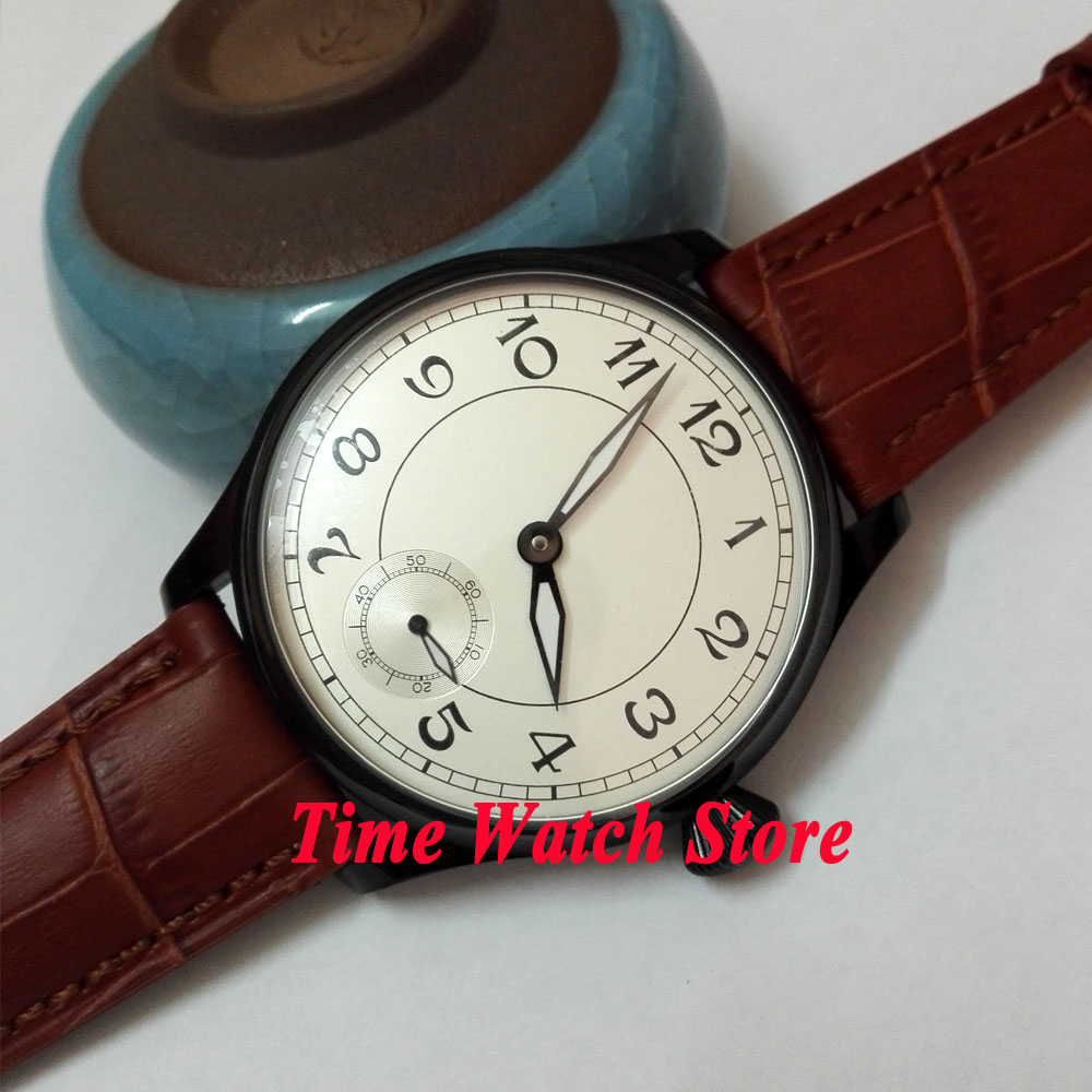 купить Parnis 44mm white dial black marks luminous PVD case 6498 hand winding movement Men's watch 288 по цене 5091.65 рублей
