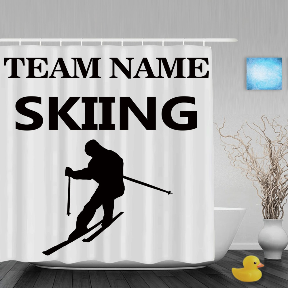Sports shower curtain hooks - Skiing Sports Shower Curtain Custom Team Name Decor Bathroom Shower Curtains Polyester Fabric With Hooks