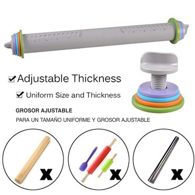 Adjustable silicone rolling pin dough with removable thickness rings