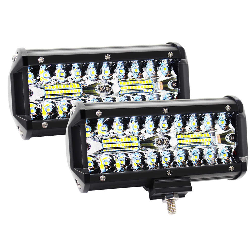 2pcs 7 inch 240W  LED Work Light Bar Flood Spot Beam for Motorcycle Tractor Boat Off Road 4WD 4x4 Truck SUV 16000LM