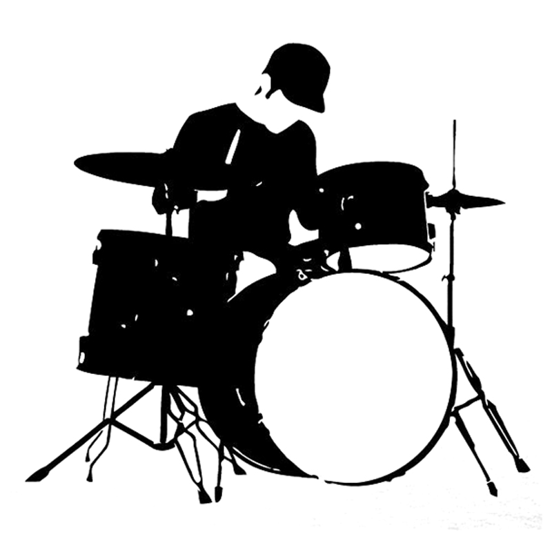 16.5CM*15.1CM Interesting Music And Drums Black/Silver Vinyl Silhouette Car Sticker Decor S9-0862