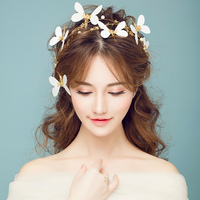 Gold Baroque Girls Crown Tiara Bridal Butterfly Headband Hair Jewelry Women Party Headpiece Headdress Wedding Hairwear