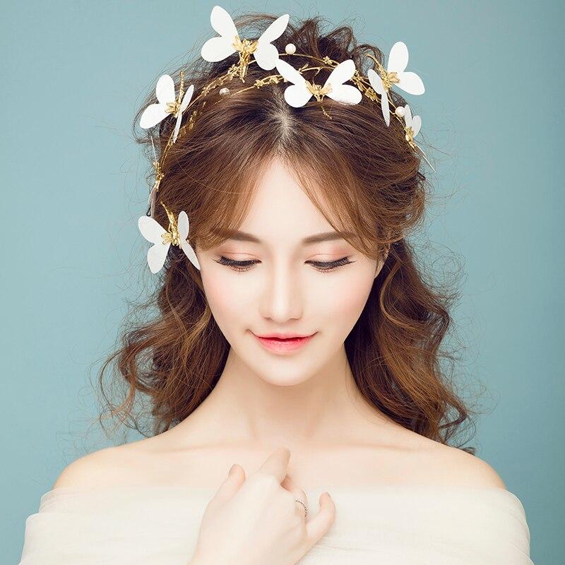 Gold Color Baroque Headbands Bridal Butterfly Crown Tiara Hair Jewelry  Women Party Headpiece Headdress Wedding Hairwear Handmade 6e394dfcfc85