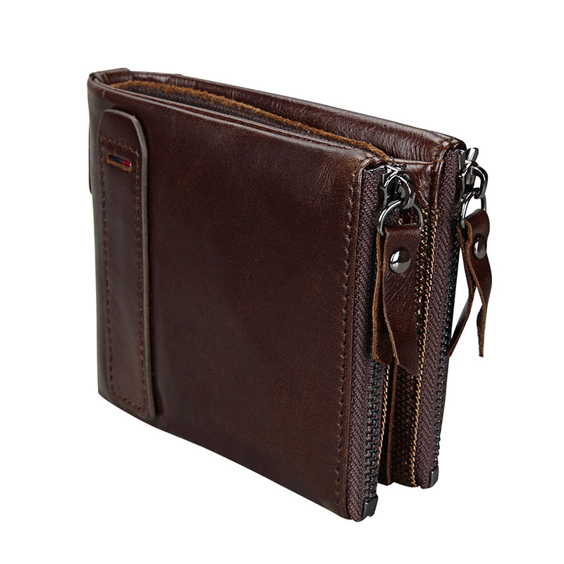 Baellerry Large Capacity Small Wallet Men Women Genuine Cow Leather Short Zipper Coin Purse Vintage Anti RFID Card Holder Wallet baellerry small mens wallets vintage dull polish short dollar price male cards purse mini leather men wallet carteira masculina