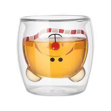 230 мл двухслойная чашка с рисунком медведя из мультфильма инновационная термостойкая стеклянная двухслойная чашка с принтом животных