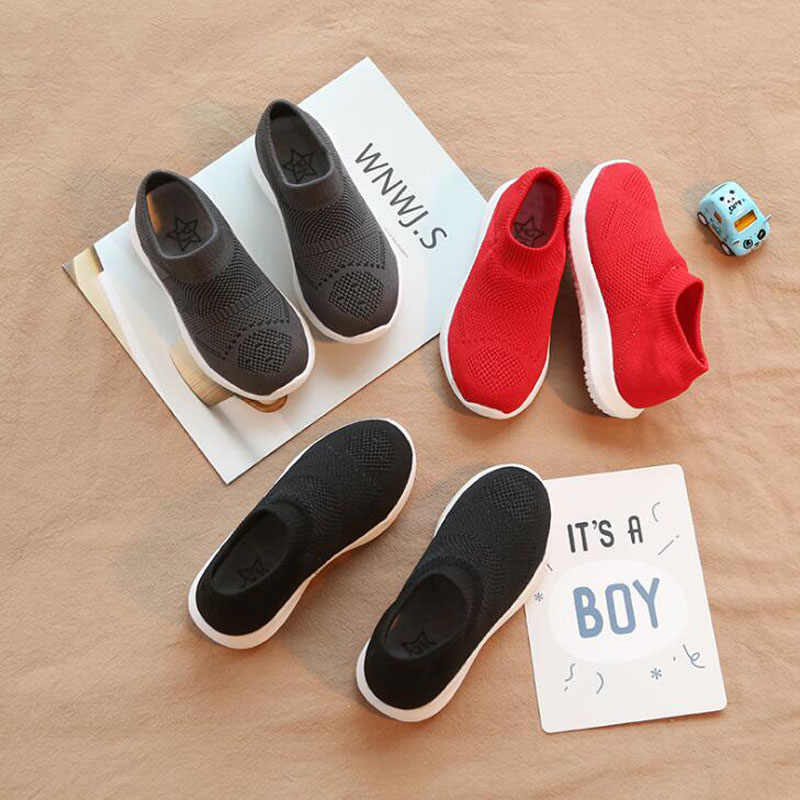 CMSOLO Casual รองเท้าเด็กชายหญิงกีฬา 2019 ฤดูใบไม้ผลิเด็กใหม่เด็กรองเท้าสบายๆถักแฟชั่นลื่นรองเท้าผ้าใบ