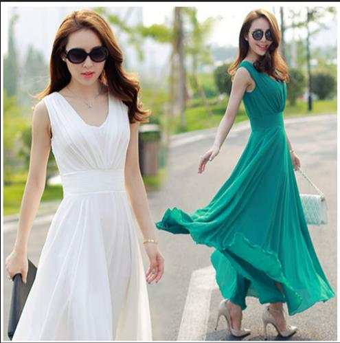 f2d8ca51527 placeholder Summer Maxi Dresses Fashion Sleeveless White Green Yellow Boho  Bohemian Beach Chiffon Long Dress Plus Size