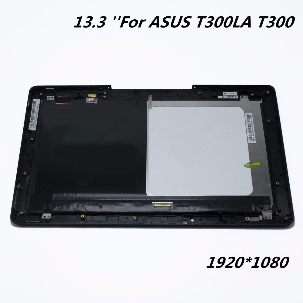 For Asus Transformer Book T300 T300LA Full LCD Display Panel Touch Screen Digitizer Assembly With Frame Replacement Parts  for asus transformer pad tf700 v0 1 black full lcd display monitor with digitizer touch panel screen glass assembly with frame