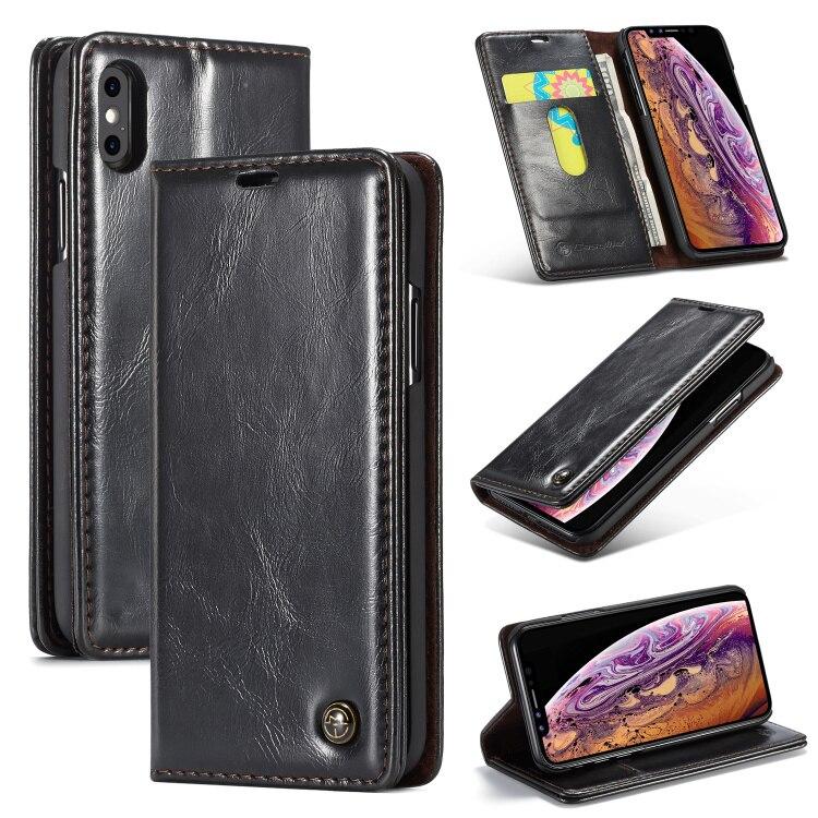 Clássico Oil Wax PU Titular Carteira de Couro para o iphone XS/6 S/6 S Plus/7 8 mais X Caso para Samsung S8 S9Plus Note8 XSMAX XR