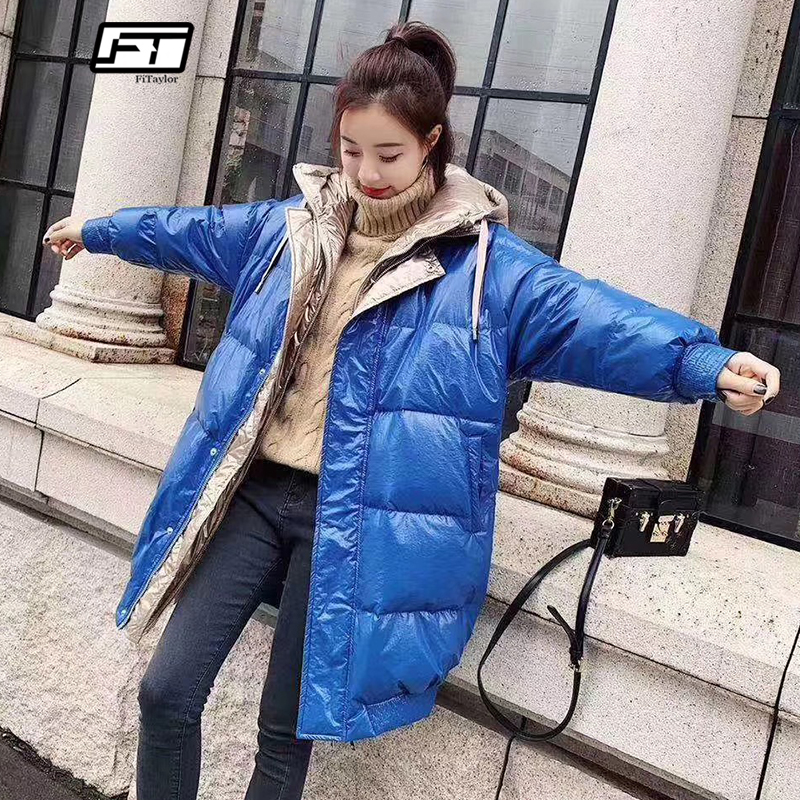 958d42e643862 Fitaylor Winter Long Down Parkas Coats Women Silver Hooded White Duck Down  Jacket Patchwork Bright Sided