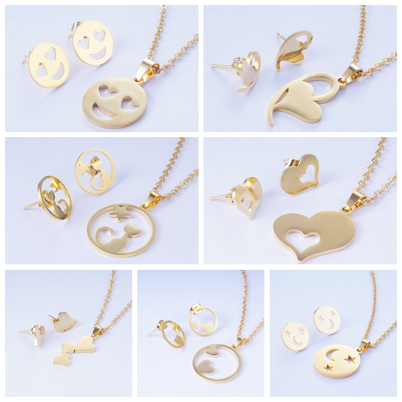 Yunkingdom Jewelry-Sets Necklace Circle Stainless-Steel Girls Fashion Metal Round Heart