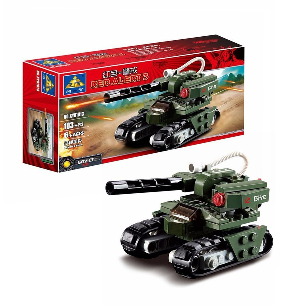 OCDAY 103pcs/set Building Blocks Hammer Tank Red Alert 3 Military Tank Leading Bricks Model Toys For Children Gift Tank Set