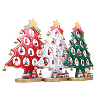 Best Christmas Gift Wooden Artificial Christmas Tree Ornaments Decorations DIY Mini Size Home Table Desk Xmas