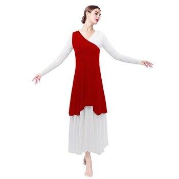 Elegant Women Pleated Asymmetrical Praise Dance Tunic for Ballet Dress Midi Single Shoulder Liturgical Wear
