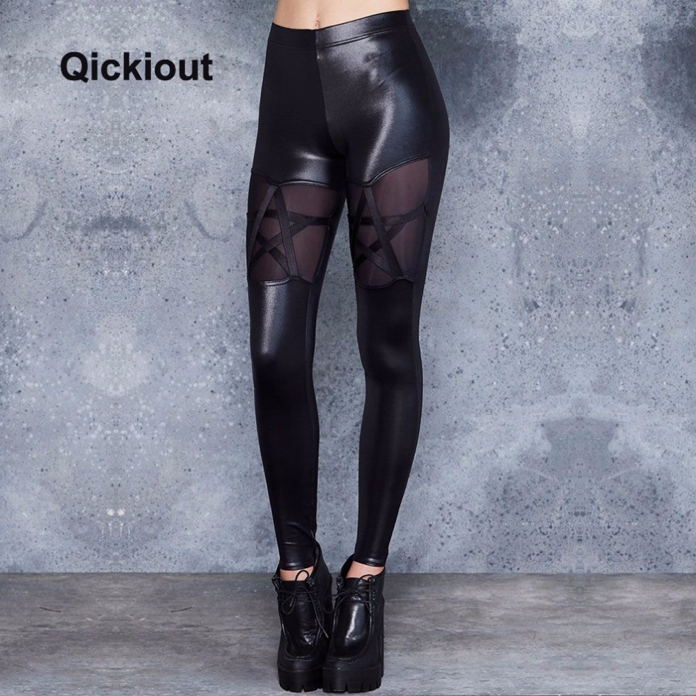 Qickitout Women High Waist Leggings Leather Pants Black Sexy Costumes Stars Mesh Stitching Women Spring Pants For Party Club