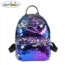 Meloke 2018 high quality bling large size school bags fashion sequins travel bags for women casual backpack drop shipping M04
