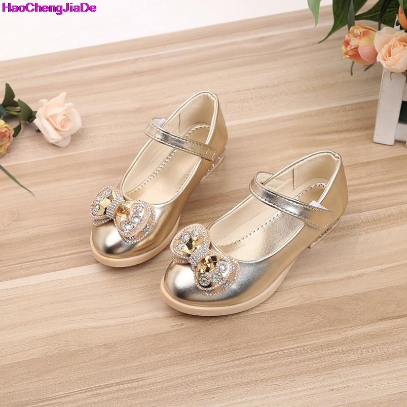 HaoChengJiaDe New Summer Autumn Children Shoes Girls Sandals Sequins Bow Princess Leather Shoes Girls Casual Shoes Dance Shoes