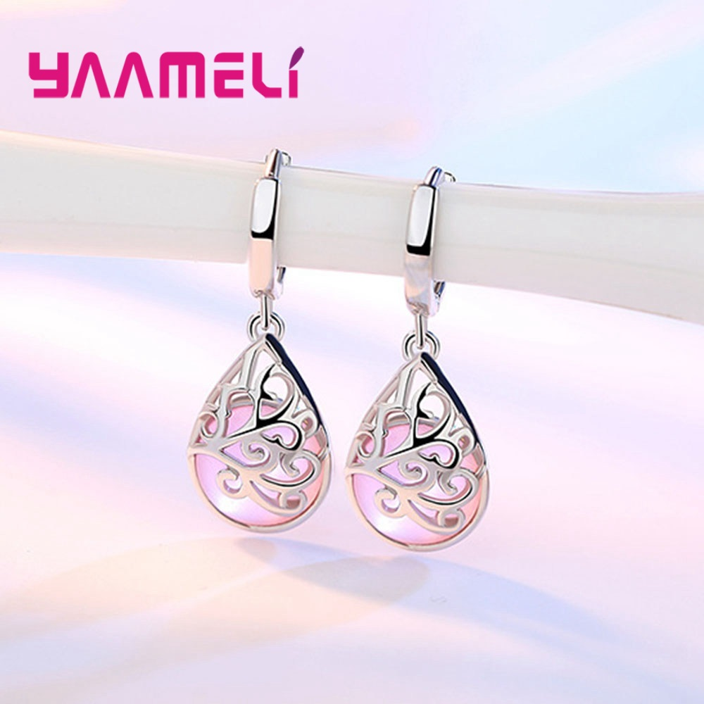 Trendy Drop Earrings Women Fashion Moonlight Cat's Eye Love Wishing Pool 925 Silver Earrings Factory direct Hot Sale