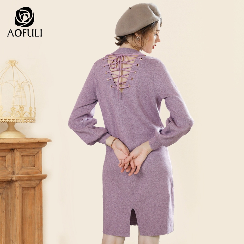 AOFULI Vintage V shaped back ladies pullover dress lantern sleeve knee length knitted dress split loose