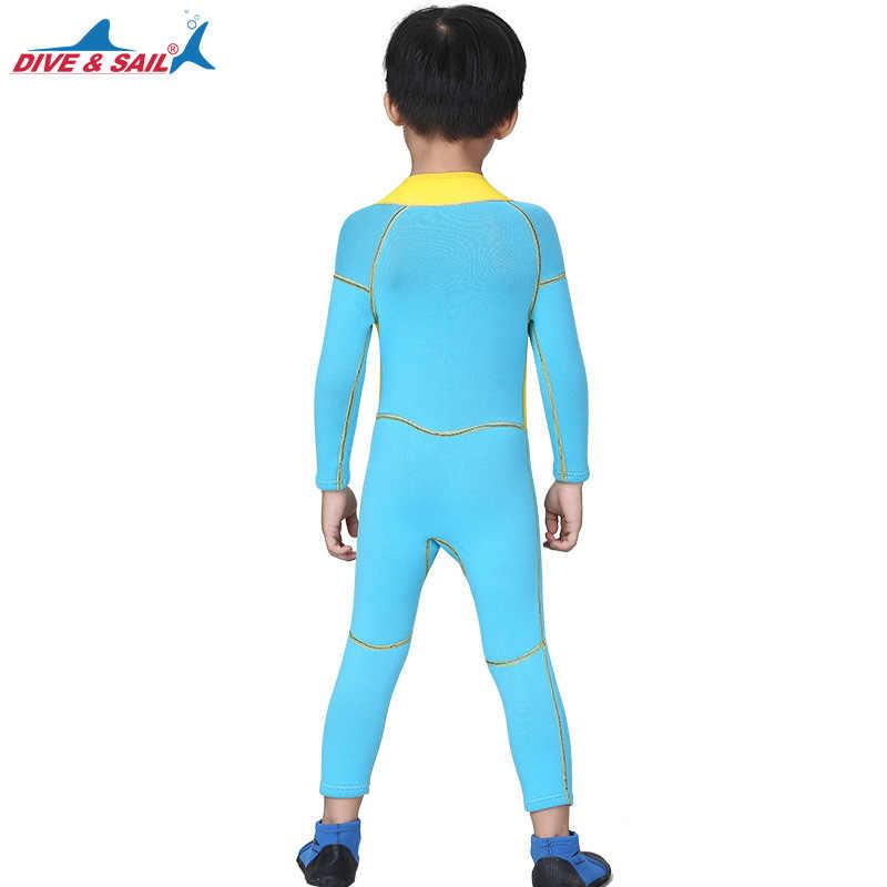 Marka Çocuk Mayo Tek parça Kısa Veya Uzun Kollu Güneş Koruyucu Sıcak Giyim Termal 2.5mm Neopren Çocuklar Wetsuit Dalış dalış elbisesi