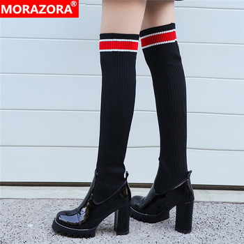 MORAZORA 2020 New over the knee boots women patent genuine leather Elastic socks boots slim sexy high heels platform high boots