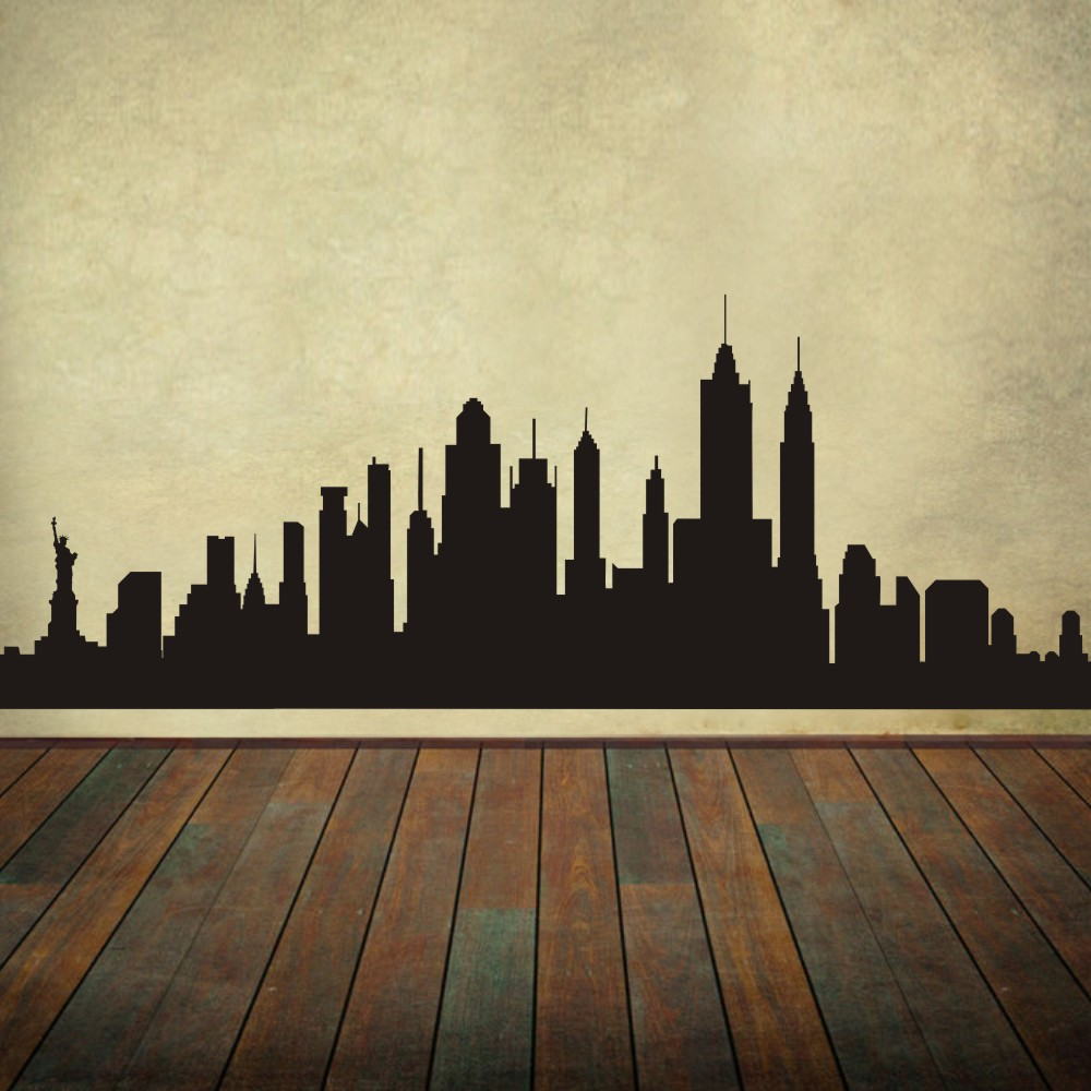 BATTOO BATTOO New York City Skyline Silhouette The Big Apple Wall ...